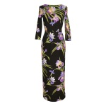 Robe fourreau en coton imprimé fleurs d'iris