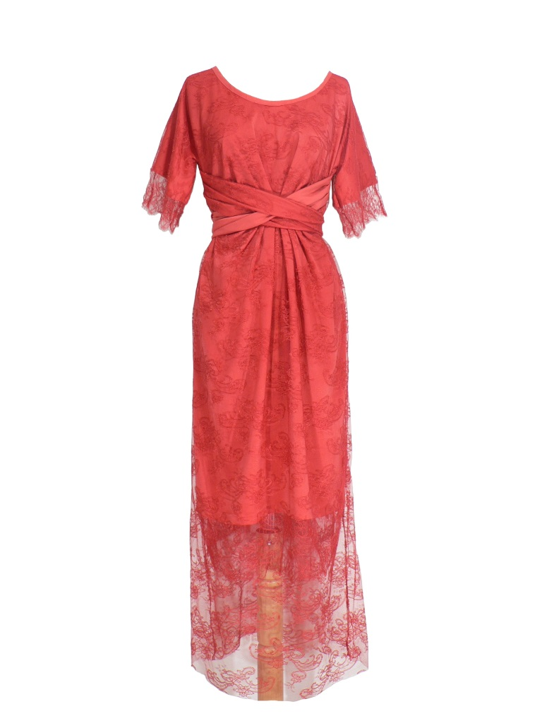 Robe de cocktail en dentelle de Calais rouge