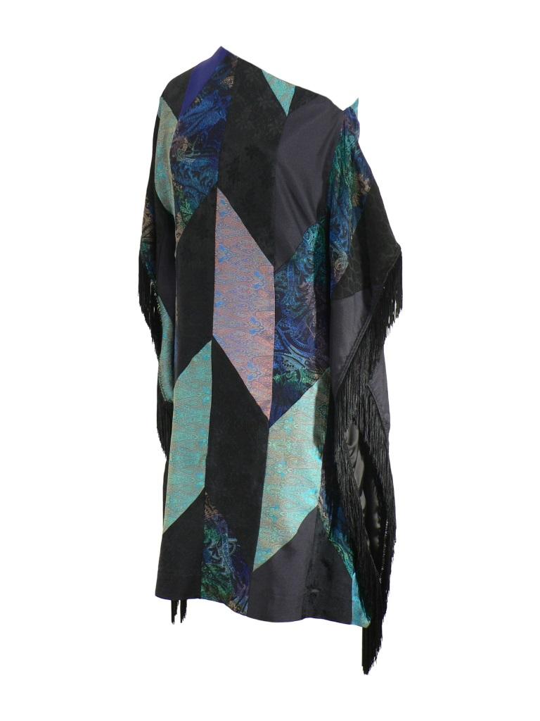 Robe poncho à franges en patchwork de soie indienne