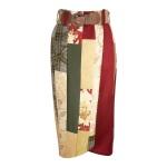 Jupe portefeuille en patchwork de soie et velours de laine