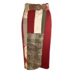Jupe portefeuille en patchwork de velours de laine et soie