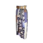 Jupe portefeuille en patchwork de coton japonais et soie