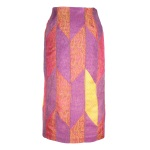 Jupe crayon en patchwork de soie indienne