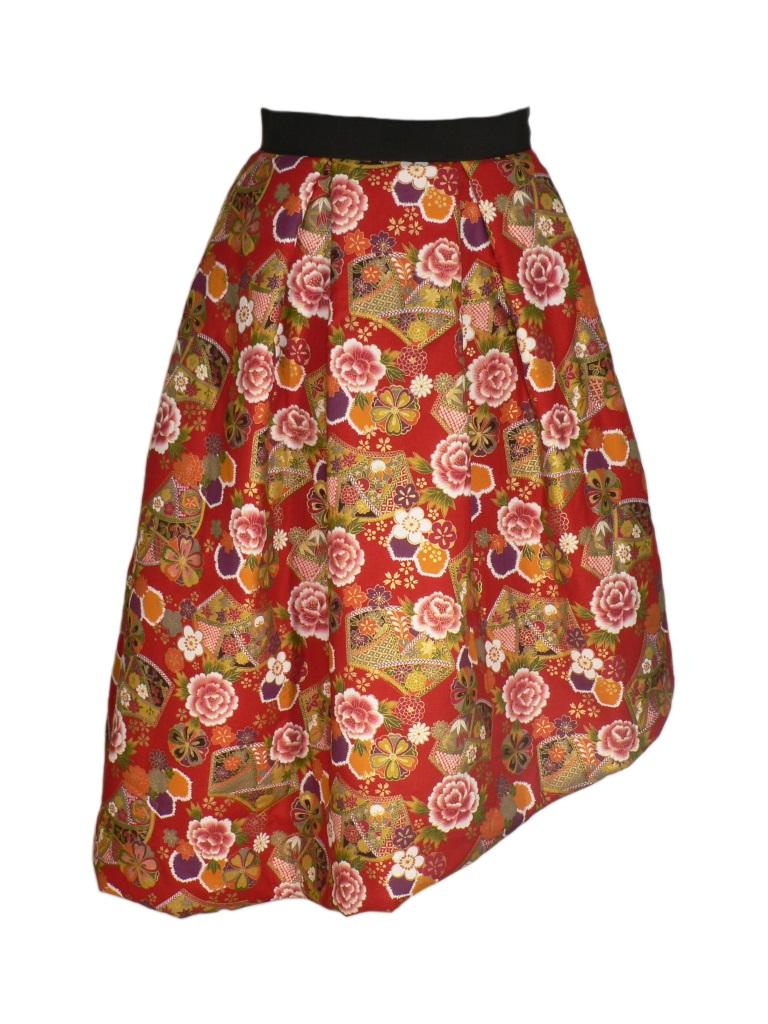 Jupe matelassée asymétrique en coton japonais fleurs et éventails