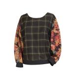 Sweat tartan bi-matière en laine et coton japonais