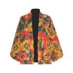 Kimono court en coton imprimé pivoines
