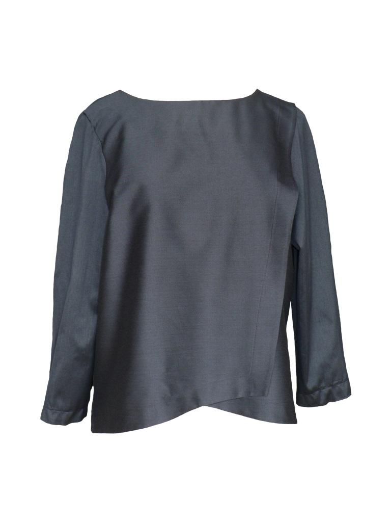 Top asymétrique en coton et soie bleu nuit