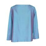 Top asymétrique en coton et soie bleu ciel