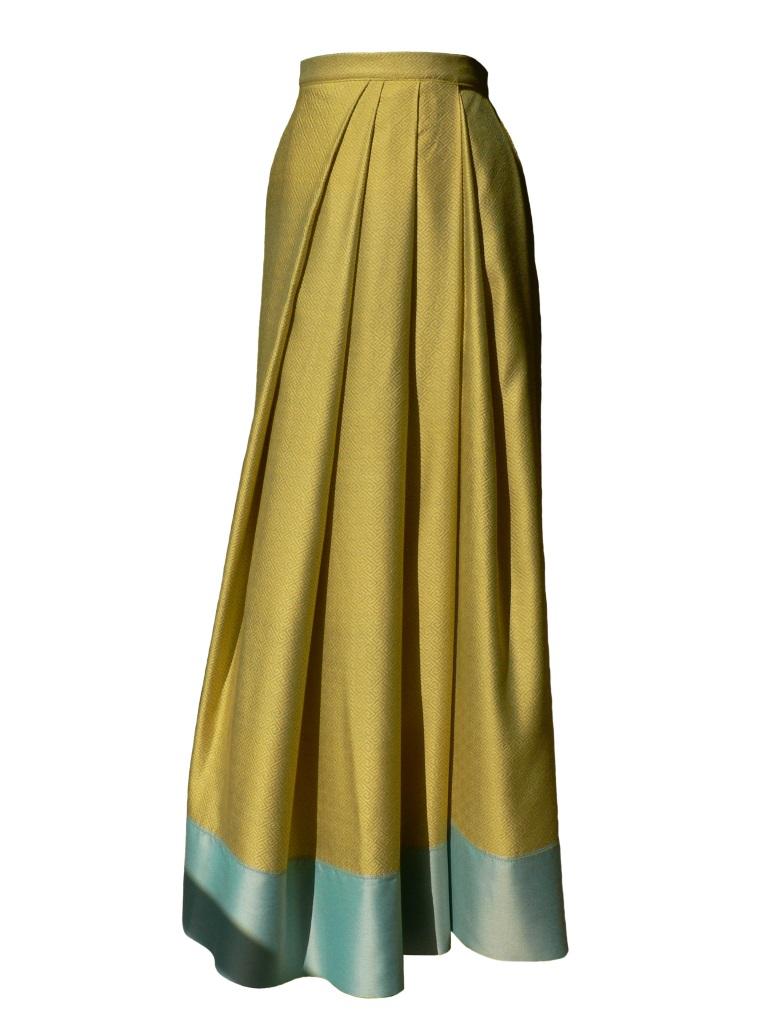 Jupe portefeuille d'inspiration sari en jacquard de coton et soie