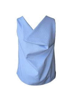 Top col bénitier en sergé de coton bleu ciel