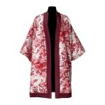 Kimono en coton et laine tartan mélangée