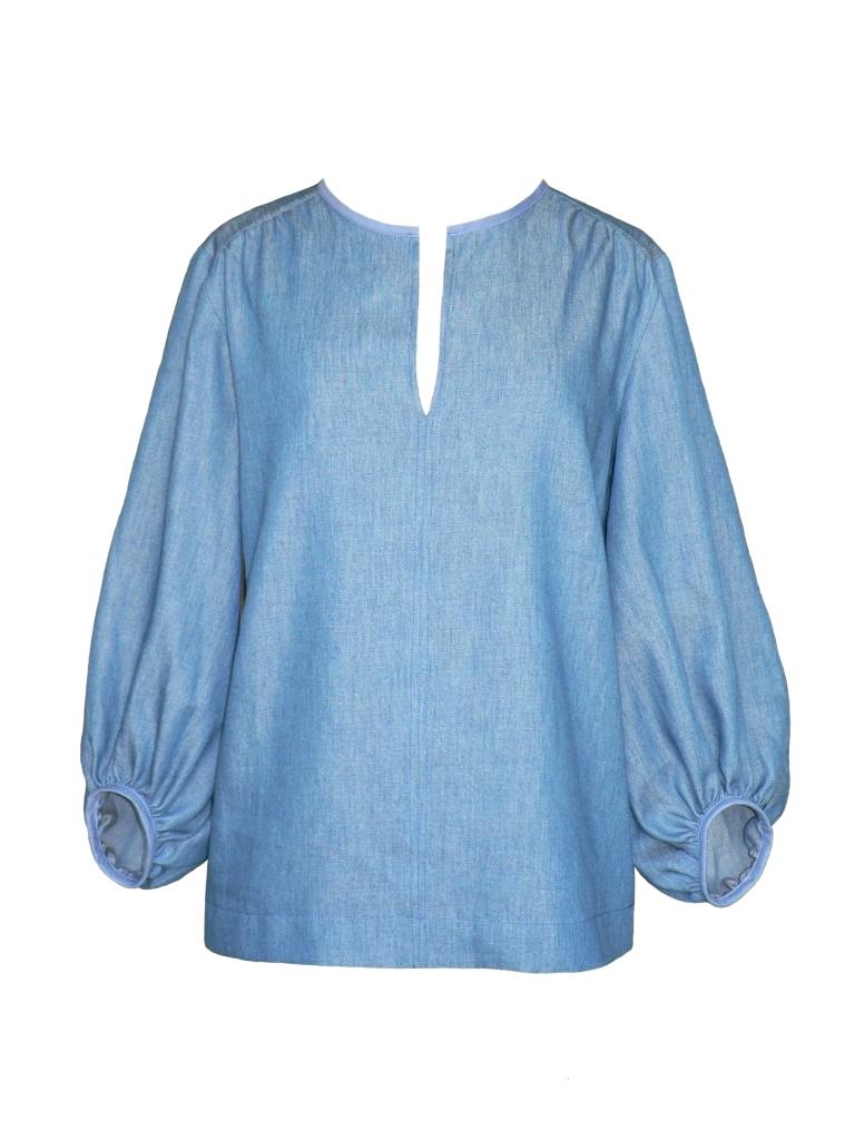 Blouse d'inspiration seventies en chambray de coton
