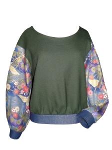 Sweat bi-matière en laine kaki et coton japonais