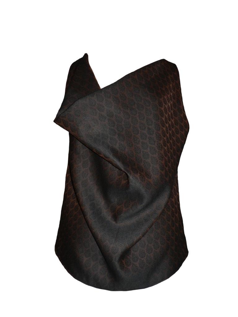 Top col bénitier en jacquard de coton et soie noir