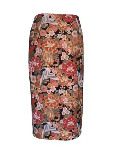 Jupe crayon en coton japonais imprimé fleurs et grues