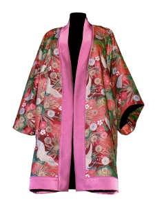 Kimono en laine et coton japonais rouge imprimé grues