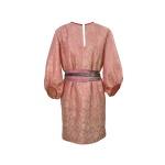 Robe tunique d'inspiration seventies en jacquard de soie indienne et sa ceinture upcyclée