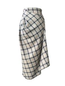 Jupe tulipe asymétrique à godet en laine tartan