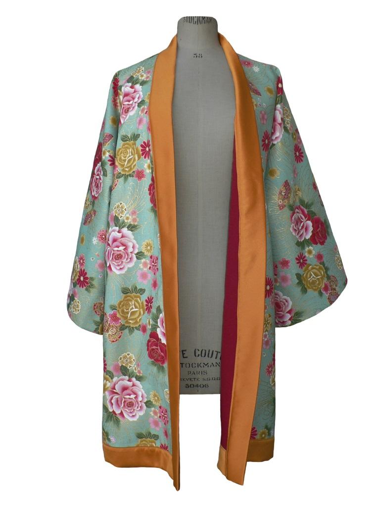 Kimono long en coton japonais vintage et laine