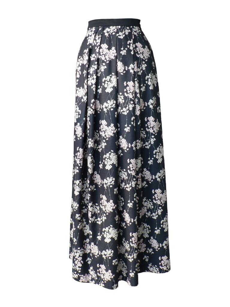Jupe longue en coton japonais imprimé fleurs de pommier