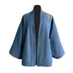 Kimono court en jean et coton japonais brodé