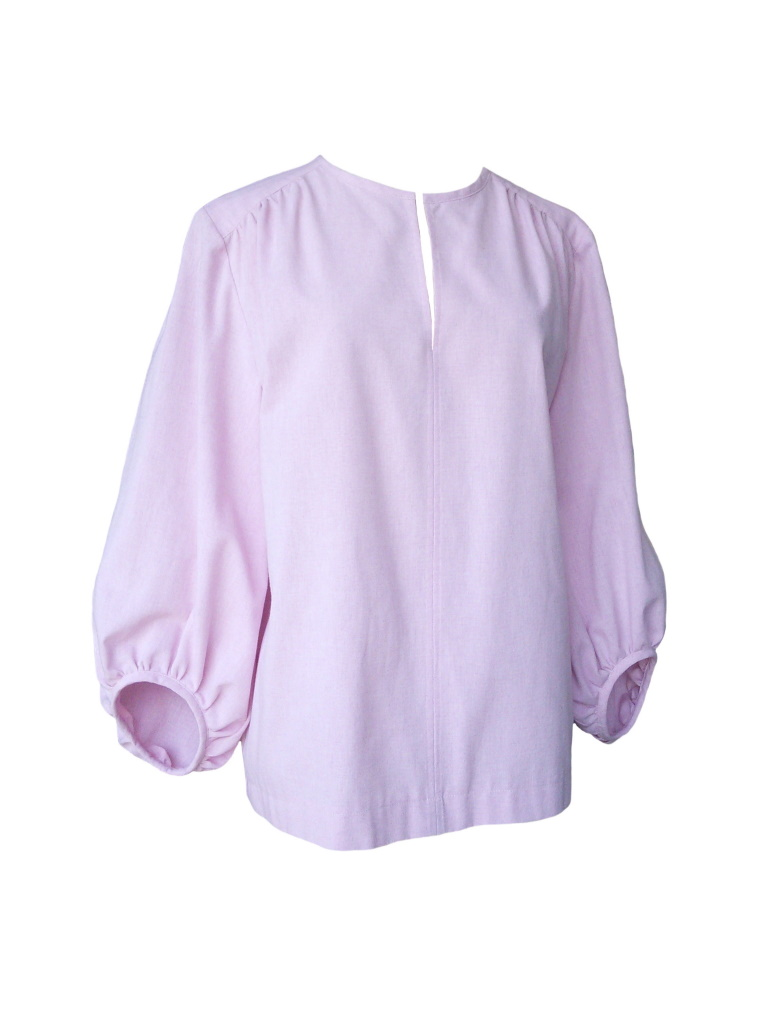 Tunique d'inspiration seventies en chambray de coton rose