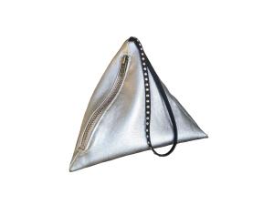 Pochette berlingot en simili-cuir argenté