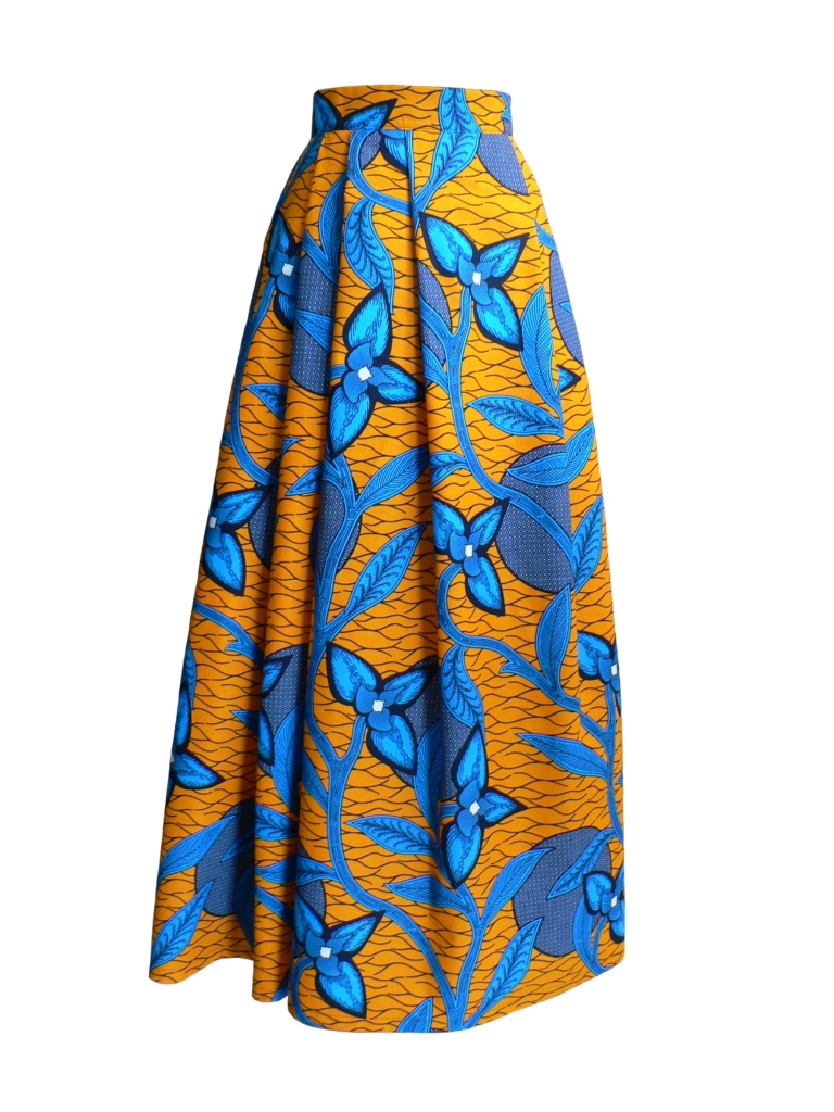 Jupe longue hybride en wax orange et bleu vif