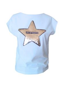 Tee-shirt en jersey de coton blanc et étoile brodée