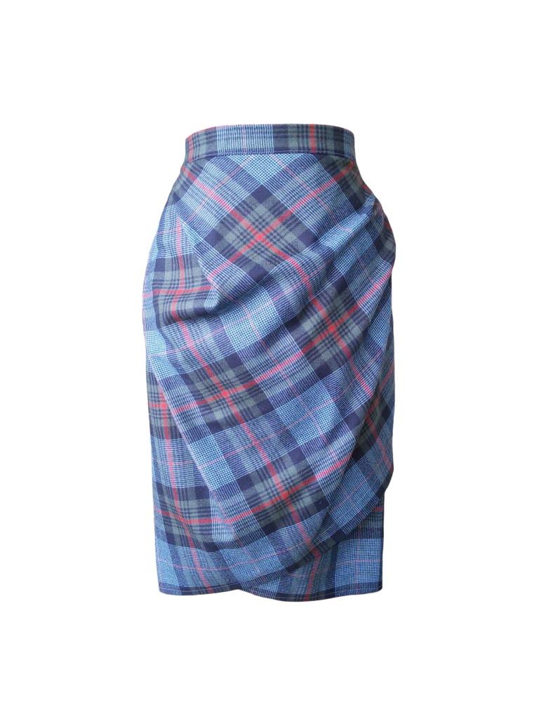 Jupe portefeuille en laine prince de Galles bleu marine