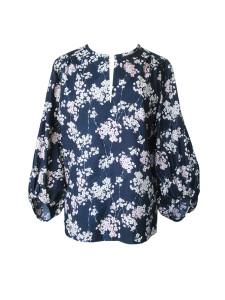 Tunique d'inspiration seventies en coton japonais gaufré imprimé fleurs de pommier