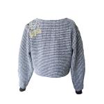 Sweat court en laine et coton japonais brodé