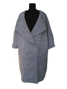 Manteau œuf d'inspiration rétro en laine noire et blanche