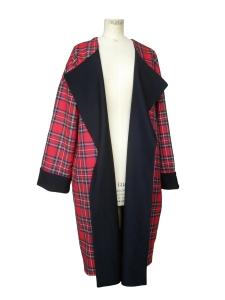 Manteau réversible en jersey de viscose et laine tartan rouge
