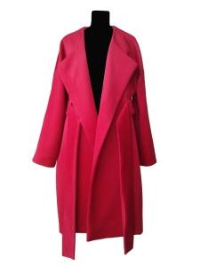 Manteau oversize ceinturé en velours de laine et angora