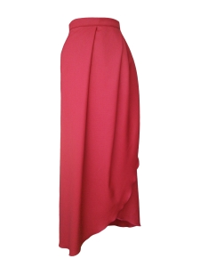 Jupe portefeuille asymétrique en laine dormeuil mélangée