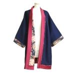 Kimono long en laine bleu marine et coton japonais vintage
