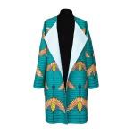 Manteau oversize réversible en coton rayé et wax