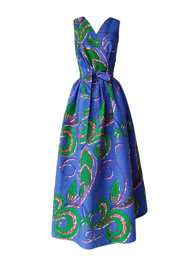 Robe dos nu transformable en wax à imprimé végétal bleu et vert