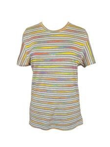 Tee-shirt coupe masculine en jersey de viscose à rayures multicolores