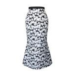 Jupe sirène en coton à imprimé fleuri noir et blanc