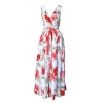 Robe dos nu en voile de viscose imprimé hibiscus rouges