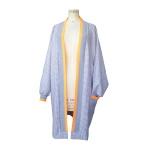 Gilet oversize en laine pied de poule et bords-côtes orange fluo