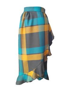 Jupe portefeuille asymétrique en laine tartan kaki, vert paon et jaune moutarde