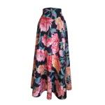 Robe trompe-l'œil en coton imprimé pivoines - Jupe longue à godets