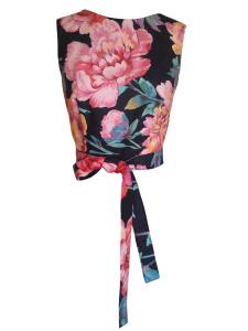 Robe trompe-l'œil en coton imprimé pivoines - Top à basque amovible