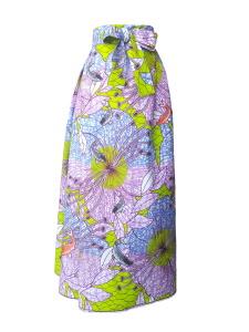 Jupe portefeuille asymétrique en wax et coton japonais brodé