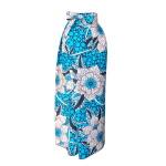 Jupe portefeuille en wax turquoise imprimé maxi-fleurs