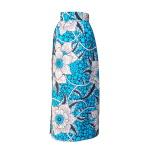 Jupe portefeuille en wax turquoise imprimé maxi fleurs