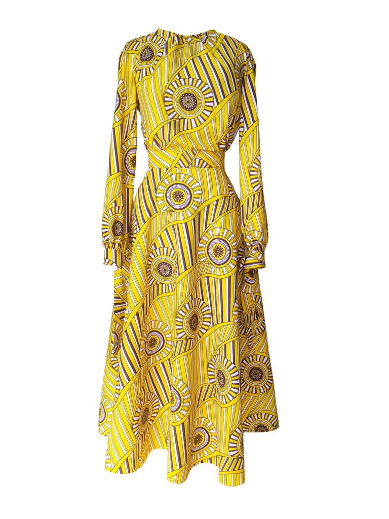Robe trompe-l'œil en wax jaune imprimé spirales